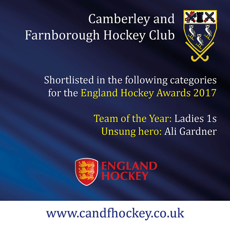Camberley and Farnborough Hockey Club shortlisted for England Hockey Awards.